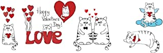 BFY DIY Removable Cute Little Love Cat Kitten Wall Decal Home Decor Wall Sticker for Valentine's Day