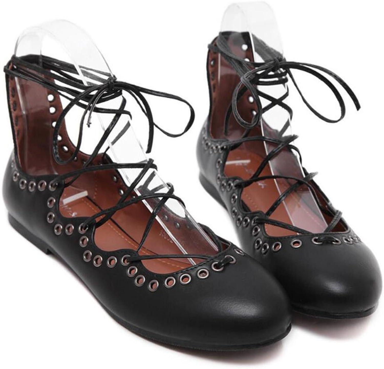 LZWSMGS Artificial PU Women's Ladies PU Spring and Summer Women's shoes Shallow Mouth Lace Belt Sandals Flat shoes Flat Casual shoes Apricot Black 35-41cm Ladies Sandals (color   Black, Size   35)