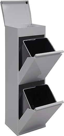 Arregui Top CR222-B Recycling Abfalleimer / Mülleimer aus Stahl mit Aufbewahrungsbox mit Deckel, Mülltrennsystem mit 2 entnehmbaren Inneneimern aus…