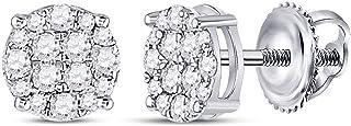 Diamond2Deal - Orecchini da donna in oro bianco 10 ct, con diamanti rotondi da 1/4 ct