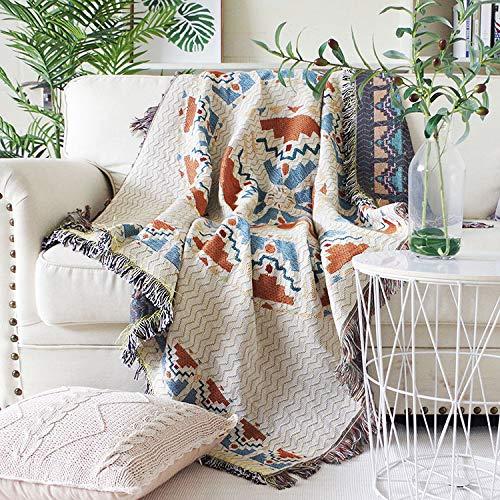 LMDY decoración del hogar Moderno Minimalista de Doble Cara Uso Estilo étnico sofá Cubierta Protectora Manta Multifuncional sofá Blanco 130 * 160 cm