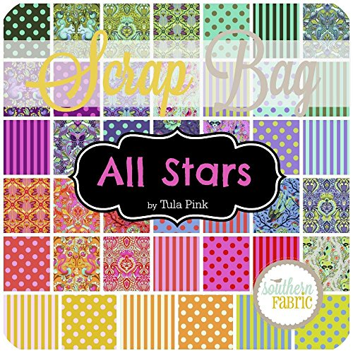 Free Spirit All Stars Scrap Bag (Approx 2 Yards) by Tula Pink 2 Yards of Fabric (at Least 8 Pieces) 2 to 17 inch Strips DIY Quilt Fabric