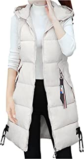 Women's Quilted Hooded Vest, Lightweight Loose Fit Sleeveless Zipper Padded Gilet Pocket Long Utility Jacket Coat