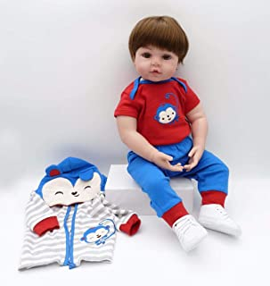 Binxing Toys Reborn Toddlers 24inch Boy Brown Hair Blue and Red Stripe Monkey Pattern Outfit Adorable Realistic Cute Baby for Child Age 5+ (Monkey)