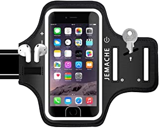iPhone 6 7 8 SE(2020) Armband, JEMACHE Fingerprint Touch Supported Gym Running Workout Exercise Arm Band Case for iPhone ...