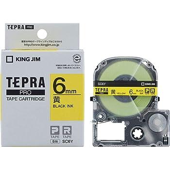 キングジム テープカートリッジ テプラPRO 6mm SC6Y 黄/黒文字