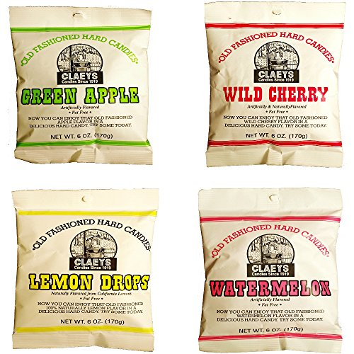 Claeys Old Fashioned Hard Candy - Variety 4 Pack - Apple, Cherry, Lemon, and Watermelon - Since 1919