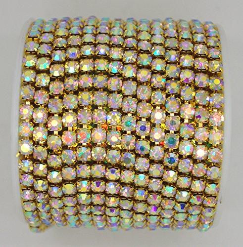 10 Yard Crystal AB Rhinestone Close Chain Clear Trim Sewing Craft (4.3mm, Gold)