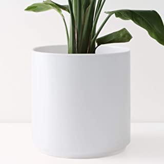 """PEACH & PEBBLE 10"""" Ceramic Planter (15"""", 12"""", 10"""", 8"""" or 7"""") - Large White Plant Pot, Hand Glazed Indoor Flower Pot for All Indoor Plants (White, Black, Melon or Gold) - White, 10 inch"""