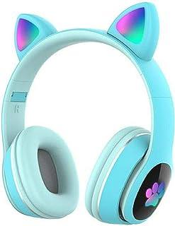 GUANGE Auriculares inalámbricos Bluetooth 5.0 para juegos, Auriculares luminosos con forma de oreja de gato, Auriculares con cancelación de ruido, Auriculares deportivos con luz LED, Azul