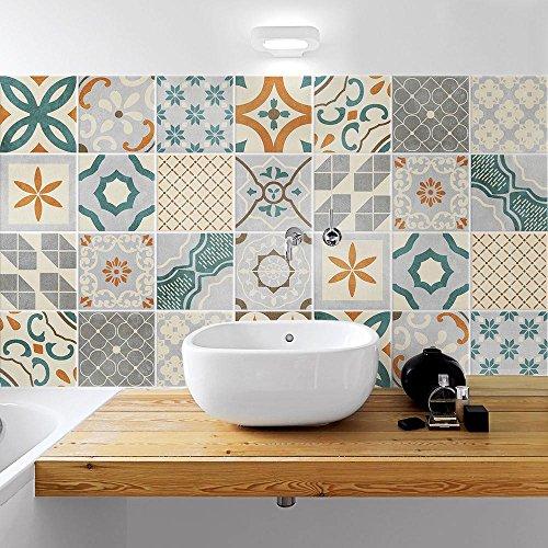 24 (Piezas) Adhesivo para Azulejos 20x20 cm - PS00168 - Santa fe - Adhesivo Decorativo para Azulejos para baño y Cocina - Stickers Azulejos - Collage de Azulejos