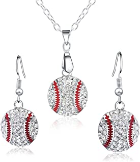 Feximzl Baseball Pendant Necklace & Dangle Earrings Jewelry Set Sport Clear Crystal Fashion Jewelry (Silver Earrings+Necklace)
