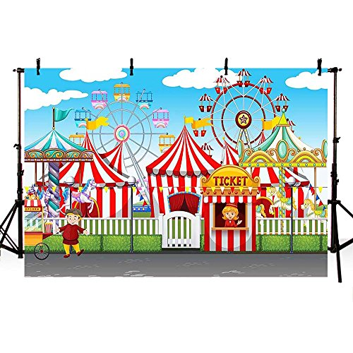 COMOPHOT Circus Tent Photography Backdrops Circus Carnival Child Baby Birthday Party Decoration Photo Booth Background 7x5ft Vinyl Seamless Print Backdrop