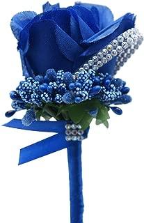 2 PCS Artificial Groom Flowers, Silk Rose Men Corsage/Boutonniere for Groom Bridegroom Groomsman for Wedding, Prom,Party (Dark Blue)