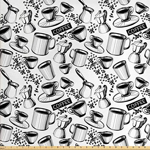 Lunarable Coffee Fabric by The Yard, Abstract Monochrome Coffee Sign with Cups Beans and Moka Pot Pattern Hand Drawn, Decorative Fabric for Upholstery and Home Accents, 1 Yard, Black White