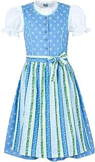 Isar-Trachten Kinder Dirndl Nicole 3-TLG. - Blau - Trachtenkleid Schürze und Bluse für Mädchen - Schönes Trachtendirndl