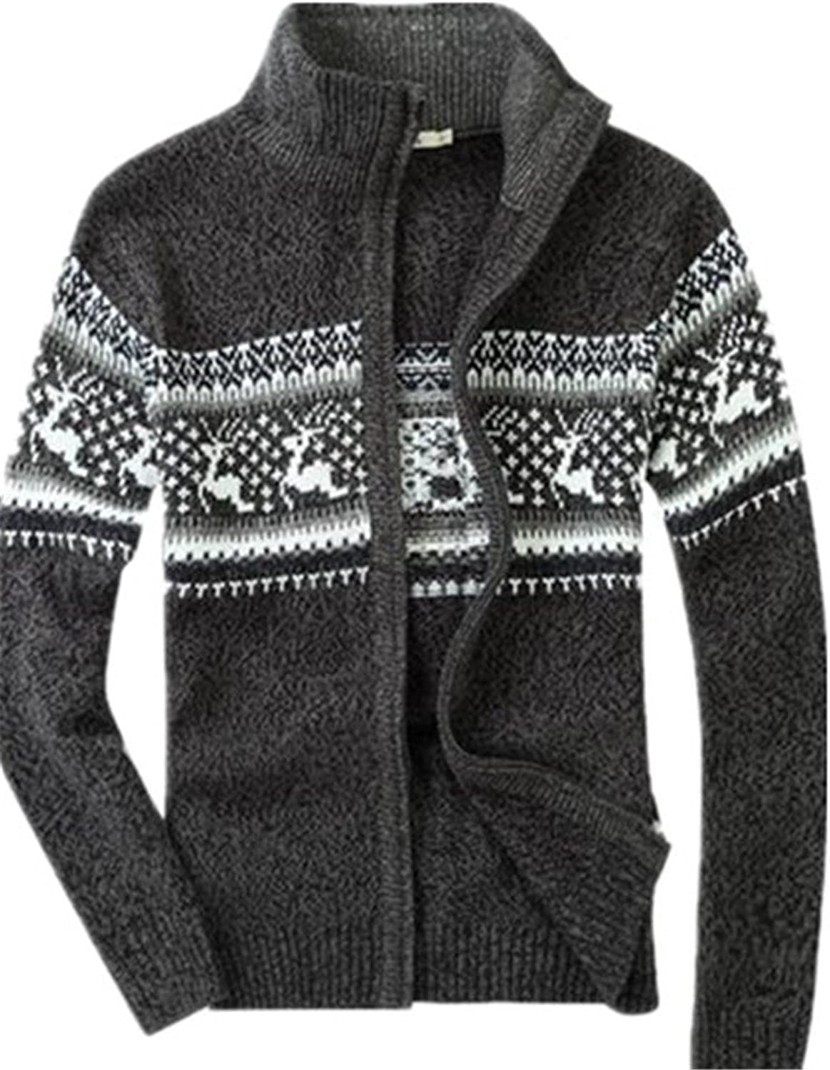 Men's Casual Slim Fit Thick Cardigan Fashion Full-Zip up Sweater