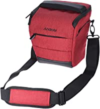 Andoer Portable DSLR Camera Shoulder Bag Sleek Polyester Camera Case for Camera Lens and Small Accessories for Canon Nikon Sony Fujifilm Olympus Panasonic RED