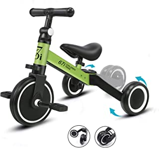 67i Kids Tricycles for 2 Year Olds 3 in 1 Tricycles Toddler Tricycle Ages 1-3 Years Kids Trikes for Toddler 3 Wheel Convert 2 Wheel Toddler Bike with Removable Pedal and Adjustable Seat for Boys Girls