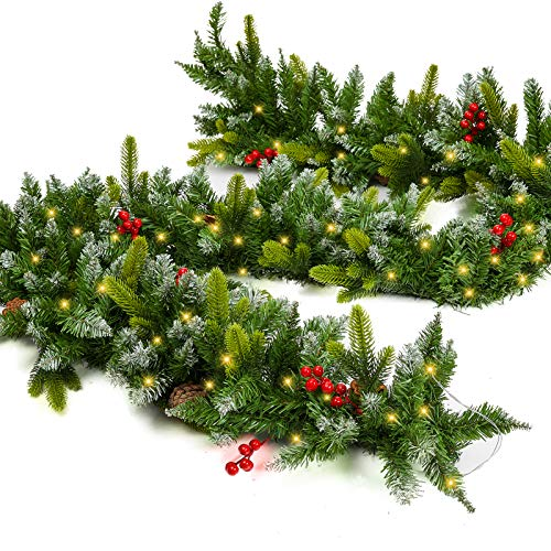 Zhenrui 9 Foot Lighted Christmas Garland, Battery Operated Garland for Christmas Decoration, Pre-lit Xmas Garland with Timer and Waterproof Battery Case, Perfect for Outdoor Use