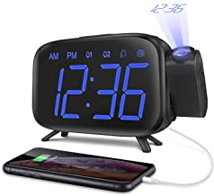 ELEHOT Projection Alarm Clock with Radio for Bedroom