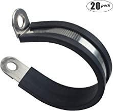 Ronteix 20 Pack,Rubber Cushioned 304 Stainless Steel Cable Clamp,Pipe Clamp,Metal Clamp,Tube Clamp for Pipe Fitting (2-3/4