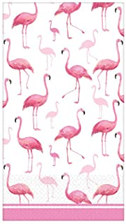 "Pink Flamingo Themed 2-Ply Disposable Guest Towels | 8"" x 4"" 