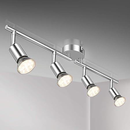 Plafonnier LED 4 Spots Orientables,4X 3.5W Ampoule GU10,380lm, blanc chaud, blanc chrome,pots plafond orientables, éclairage intérieur plafond LED cuisine chambre salon, 230V