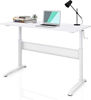 DEVAISE Adjustable Height Standing Desk 55 Inch with Crank Handle/White