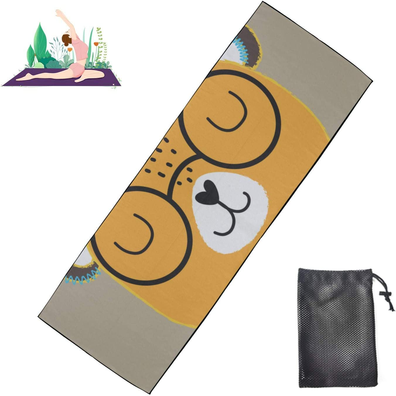 Huqalh Outdoor Yoga Mats Glasses Handsome Towel M Soft Ranking Time sale TOP17 Bear