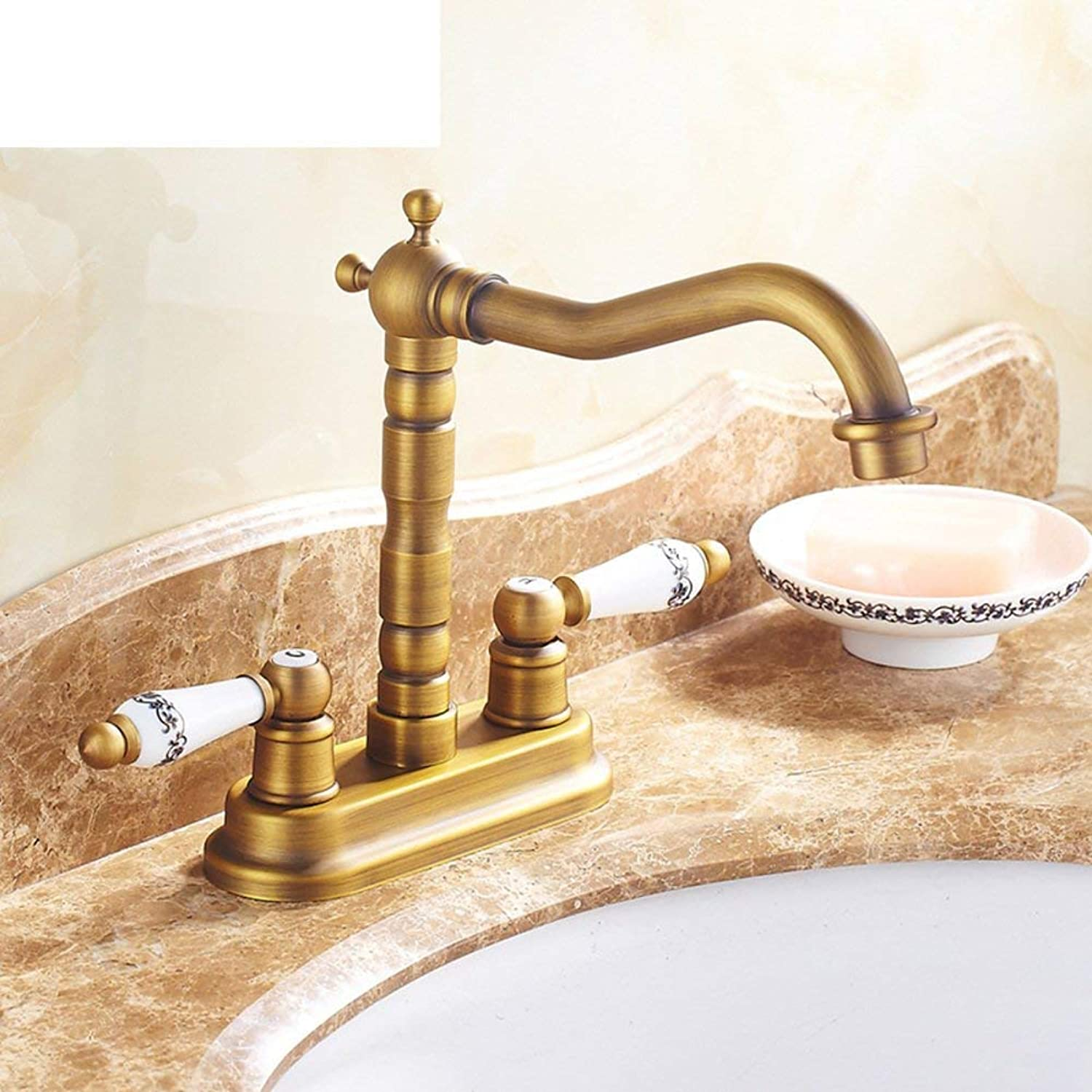 Oudan All copper gold-plated holes basin mixer European antique redatable wash basin washbasin faucet hot and cold basin-B (color   -, Size   -)