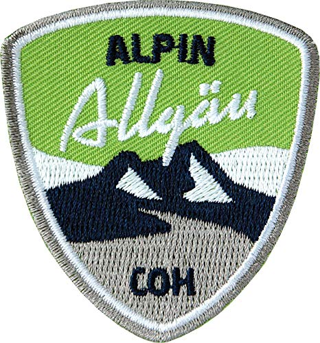 2 x Stick Abzeichen 55 x 60 mm grün / Allgäu Alpin, Allgäuer Alpen / Aufnäher für Outdoor Mode Sport / Aufbügler Sticker Flicken Applikation Wappen / Wandern Ski Snowboard Wintersport Winter Tour