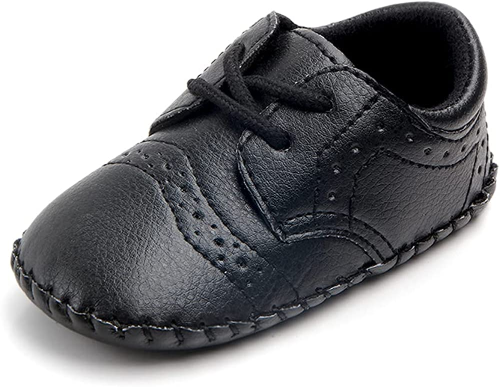 Baby Boys Premium Soft Pu Leather Lace Up Infant Toddler Sneakers