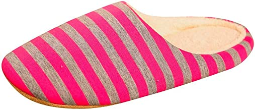 Auniemifly Winter Woman's Plush Soft Warm Slippers Anti-Slip Floor Bedroom Shoes Ladies Home Stripe Slides