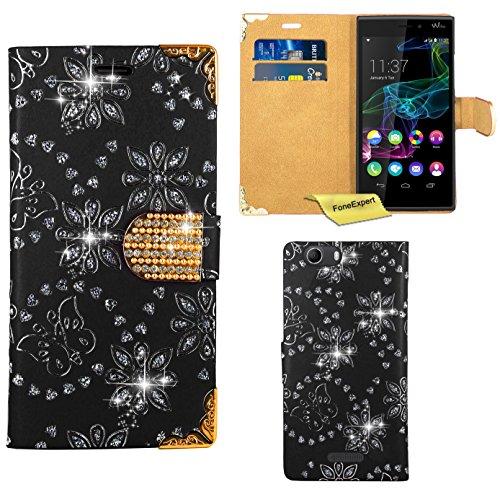 Wiko Ridge 4G Handy Tasche, FoneExpert® Bling Luxus Diamant Hülle Wallet Case Cover Hüllen Etui Ledertasche Premium Lederhülle Schutzhülle für Wiko Ridge 4G (Schwarz)