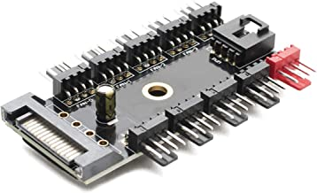 Chassis Fan Hub CPU Cooling | 10 Port 12 V SATA to Fan-Header with 4 Pin PWM Controller | Efficient Chassis Adhesive Computer Cooling System | Dedicated Supply from PSU to Link Multiple Points