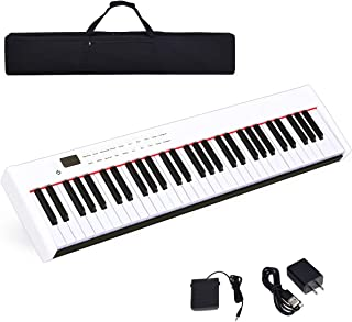 $159 » Costzon BX-II 61-Key Portable Touch Sensitive Digital Piano, Electric Keyboard W/MIDI & Bluetooth, Dynamics Adjustment, Power Supply, Sustain Pedal, Portable Carrying Bag, for Kids Adults (White)