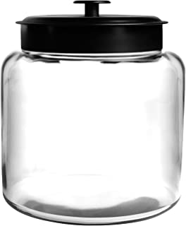 Anchor Hocking 1.5 Gallon Montana Glass Jar with Fresh Seal Lid, Black Metal, Set of 1
