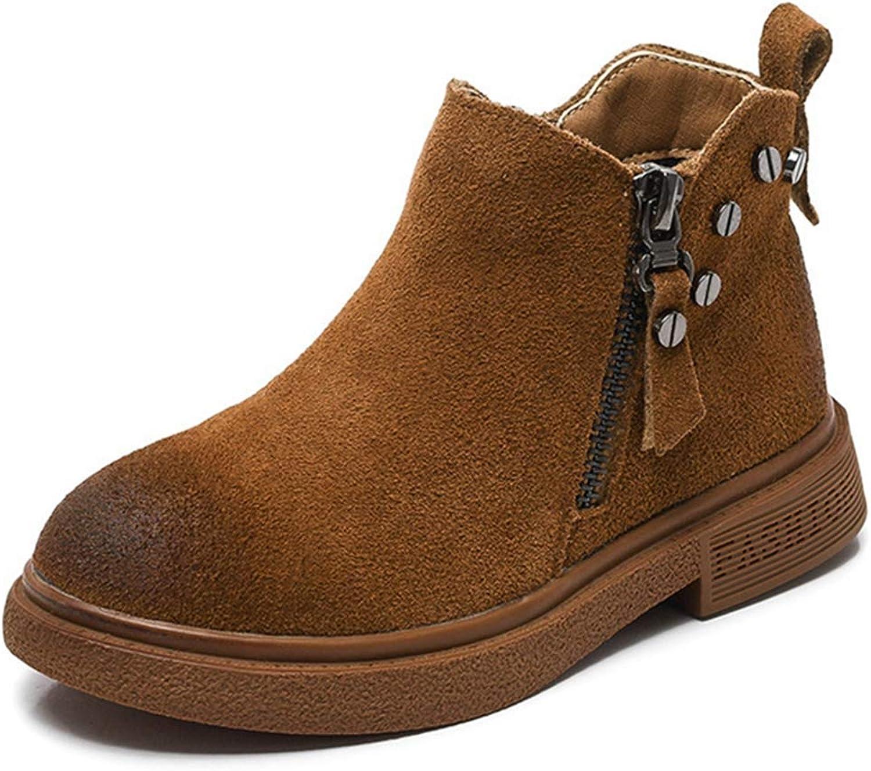 Fashion shoesbox Toddler Girls Winter Ankle Boots Suede Warm Low Heel Winter Side Zip Outdoor shoes Boys Waterproof Short Booties