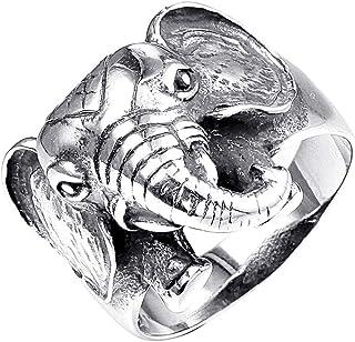 PAMTIER الرجال الفولاذ المقاوم للصدأ الفضة الأسود خمر الحيوان الفيل نمط لاكي الدائري