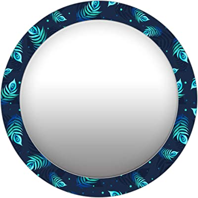 999Store Printed Peacock Feathers Round Mirror (MDF_17X17 Inch_Multi)