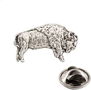 Bison Buffalo Full Body Pewter Mini Lapel Pin, Brooch, Jewelry, M029MP