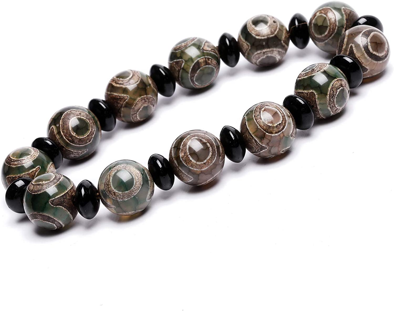 ZenBless Round Grey Tibetan Dzi Beads Bracelet Mala Beads Amulet