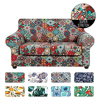 hyha Printed Stretch Sofa Slipcover - Floral Pattern 3 Piece Sofa Cover Washable Furniture Protector with Elastic Strap for 2 Cushion Couch (Loveseat, Diamond Mandala)