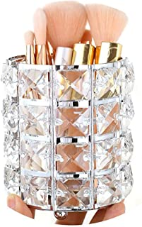 Pahdecor Handcrafted Crystal Rotating Makeup Brush Holder Eyebrow Pencil Pen Cup Collection Cosmetic Storage Organizer for Vanity,Bathroom,Bedroom,Office Desk (Silver)