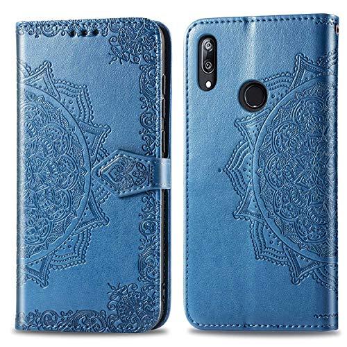 Bear Village Hülle für Huawei Y7 2019 / Huawei Y7 Prime 2019, PU Lederhülle Handyhülle für Huawei Y7 2019 / Huawei Y7 Prime 2019, Brieftasche Kratzfestes Magnet Handytasche mit Kartenfach, Blau