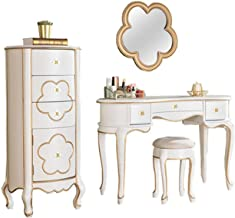 JSZMD Vanity Table Set American Dresser with Flower Shaped Mirror and Make-up Stool, 3 Drawers, Bedroom Furniture, Dressin...