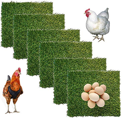 Hamiledyi ChickenNesting Box Pads 6 Pcs Artificial Grass Rug Carpet Synthetic Turf Mat Nest Box Bedding for Chicken Coop Pet Garden Lawn Indoor Outdoor 12'x12'