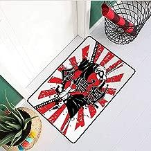 RelaxBear Japanese Universal Door mat Crossed Samurai Hieroglyph Background Two Ronin Aikido Eastern Fight Style Door mat Floor Decoration W29.5 x L39.4 Inch Orange Black White