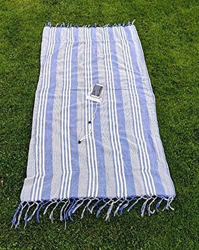 Toalla Playa Pareo Flecos Incluye Funda Impermeable móvil para Colgar. Doble Cara Tela y Rizo turca Unisex Gym Mujer 180 x 90 cm Rayas Azul Toallas baño Grandes